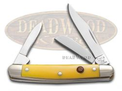 Hen & Rooster Small Stockman Knife Yellow Celluloid Stainless Pocket 303-Y