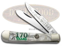 Hen & Rooster Trapper Knife Cracked Ice Celluloid 170th Anniversary 312/170CI