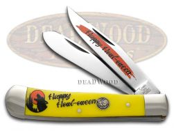 Hen & Rooster Halloween Trapper Knife Yellow Happy Howl-oween 312-Y/HOWL