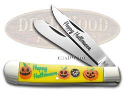 Hen & Rooster Trapper Knife Yellow Delrin Happy Halloween Pocket 312-YPUMPKIN