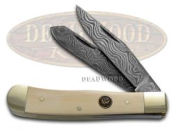 Hen & Rooster Trapper Knife German Damascus Gray Fossil Handle 312DAM/Gray