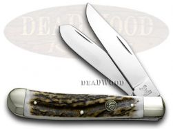 Hen & Rooster Trapper Knife Genuine Deer Stag Stainless Pocket Knives 312-DS