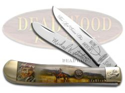 Hen & Rooster Painted Pony Trapper Knife Native American Village Elder NA1