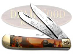 Hen & Rooster Painted Pony Trapper Knife Native American Desert Scene NA3