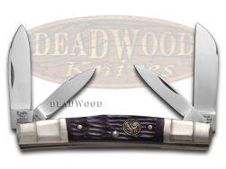 Hen & Rooster Jigged Brown Bone Congress Carbon 324C-BRPB Pocket Knife