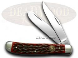 Hen & Rooster Medium Trapper Knife Red Pick Bone Stainless Pocket 412-RPB