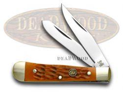 Hen & Rooster Tiny Trapper Knife Orange Jigged Bone Stainless Pocket 422-OJB