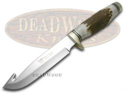 Hen & Rooster Fixed Blade Guthook Hunter Knife Deer Stag Handle Stainless 4802