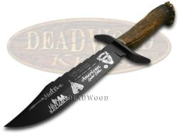 Hen & Rooster Bowie Knife Native American Deer Stag 1/500 Blackened 5000B/NA