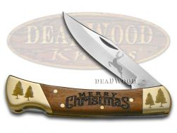 Hen & Rooster Lockback Hunter Knife Merry Christmas Wood Handle 1/250 6011XMAS