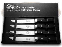 Hen & Rooster 4-Piece Kitchen Steak Knife Set Black Handle Stainless HRI-008