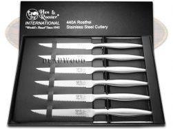 Hen & Rooster 6-Piece Kitchen Cutlery Steak Knife Set Stainless Steel HRI-027