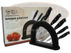 Hen & Rooster 5-Piece Kitchen Knife Set Black Handle Cutlery Stainless HRI-029