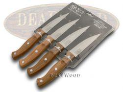 Hen & Rooster 4-Piece Kitchen Jumbo Steak Knife Set Hardwood Stainless HRI-030
