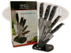 Hen & Rooster 5-Piece Kitchen Knife Set Cutlery Black Composite ABS HRI-031