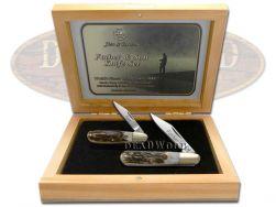 Hen & Rooster Father & Son Barlow Knife Set Genuine Deer Stag Pocket Knives