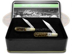 Hen & Rooster Father & Son Barlow Knife Set Genuine Deer Stag 1/1000 Pocket