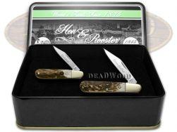 Hen & Rooster Grandfather Grandson Barlow Knife Set Genuine Deer Stag 1/1000