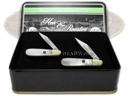 Hen & Rooster Mother Daughter Barlow Knife Set Genuine Mother of Pearl 1/500