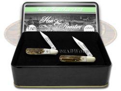Hen & Rooster Mother & Son Barlow Knife Set Genuine Deer Stag Pocket Knives