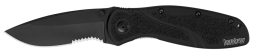 Kershaw Blur LinerLock Knife Black Aluminum Serrated Sandvik Stainless 1670BLKST