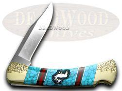 Buck 110 Yellowhorse Folding Hunter Knife Elk Turquoise 1/25 Stainless Pocket