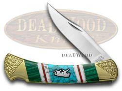 Buck 110 Yellowhorse Folding Hunter Knife Wolf Malachite & Turquoise 1/25