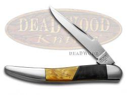 Schatt & Morgan Toothpick Knife Antique Gold & Black Pearl  Stainless Pocket