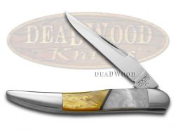 Schatt & Morgan Toothpick Knife Antique Gold & White Pearl Stainless Pocket