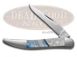 Schatt & Morgan Toothpick Knife Blue Luster & White Pearl Stainless Pocket