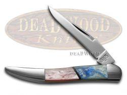 Schatt & Morgan Toothpick Knife Pink Pearl & Blue Luster Stainless Pocket