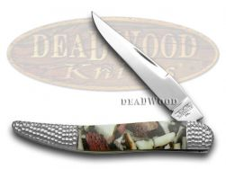 Schatt & Morgan Toothpick Knife Deer Stag & White Pearl 1/50 Stainless Pocket
