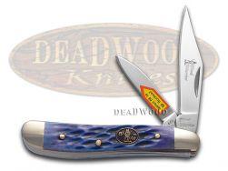 Steel Warrior Peanut Knife Jigged Dark Blue Bone Stainless Pocket SW-107DBLJ