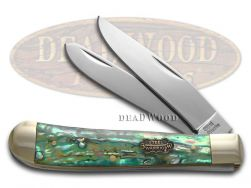 Steel Warrior Trapper Knife Genuine Abalone Stainless Pocket Knives SW-108AB