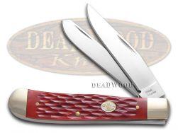 Steel Warrior Trapper Knife Jigged Dark Red Bone Stainless Pocket SW-108DRWJ
