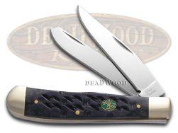 Steel Warrior Trapper Knife Gator Back Black Bone Stainless Pocket SW-108GB