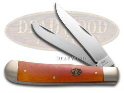 Steel Warrior Trapper Knife Smooth Orange Bone Stainless Pocket Knives SW-108OSB