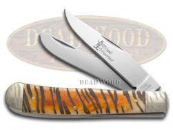Steel Warrior Tiger Stripe Brown Bone Trapper Stainless 108TG Pocket Knife