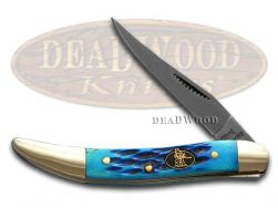 Steel Warrior Toothpick Knife Jigged Cancun Blue Bone Carbon Pocket SW-109TCBL