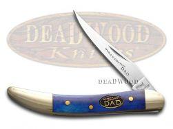 Steel Warrior World's Greatest Dad Toothpick Knife Smooth Blue Bone SW-109WGD/BL