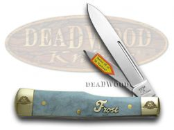 Frost Family Gunstock Knife 40th Anniv Smooth Blue Bone 1/600 Pocket 40-169BSB