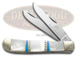 Silverhorse Mother of Pearl & Blue Turquoise Trapper Stainless SHS108HH Knife