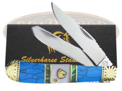 Silverhorse Blue Turquoise MOP Trapper Pocket Knife SHS108TUR Knives