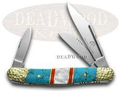 Silverhorse Blue Turquoise MOP Stockman Pocket Knife SHS112TUR Knives