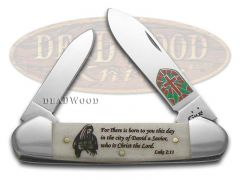 Case xx Christmas Canoe Knife Luke 2:11 Natural Bone Stainless Pocket 10566