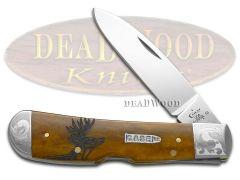 Case xx Tribal Lock Knife Scrolled Deer Scene Antique Bone 1/500 Stainless