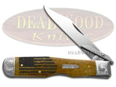 Case xx Cheetah Knife USA Flag Antique Bone Scrolled 1/200 Stainless Knives