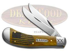 Case xx Saddlehorn Knife USA Flag Antique Bone 1/500 Stainless Pocket Knives