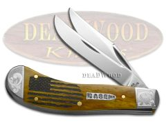 Case xx Saddlehorn Knife USA Flag Antique Bone Scrolled 1/200 Stainless Knives