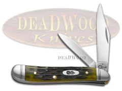 Case xx Peanut Knife Crandall Jigged Olive Green Bone Stainless Pocket 22544